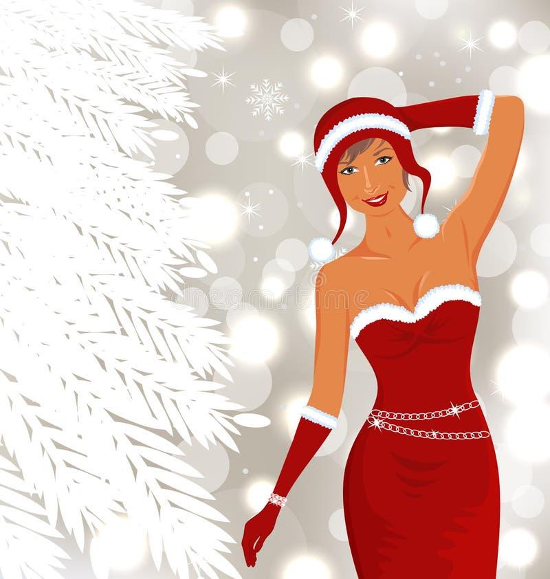 Diva bonita do disco do Natal, fundo do feriado ilustração stock