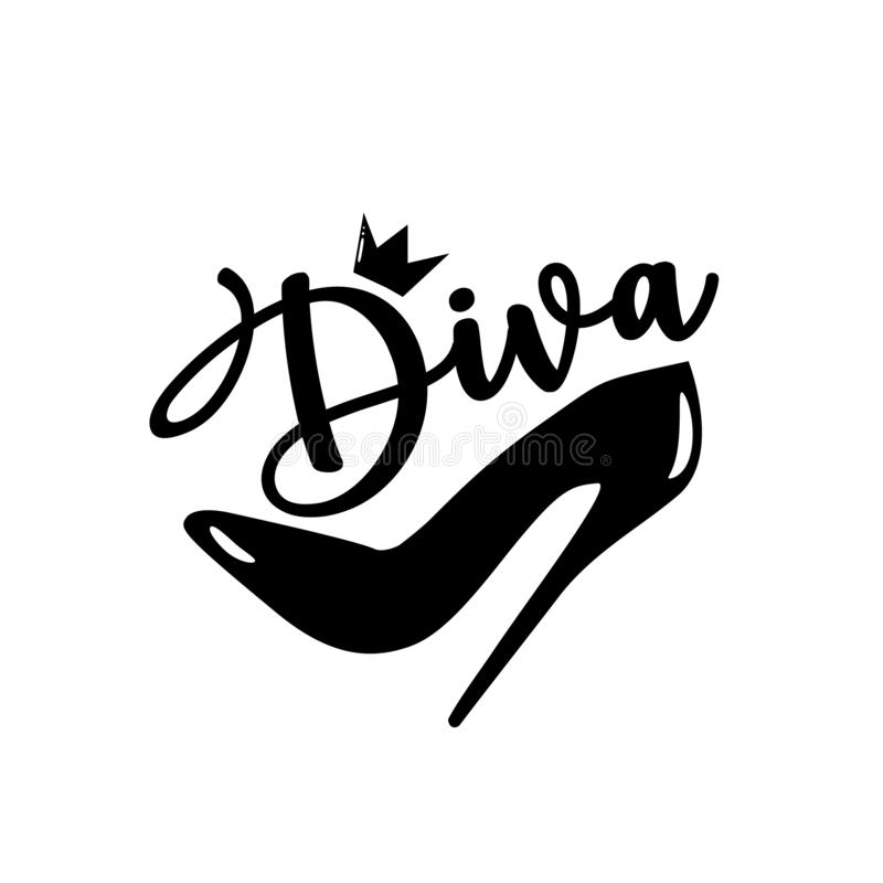 Free Diva- Calligraphy And High-heel Shoe With Crown. Stock Image - 167172841