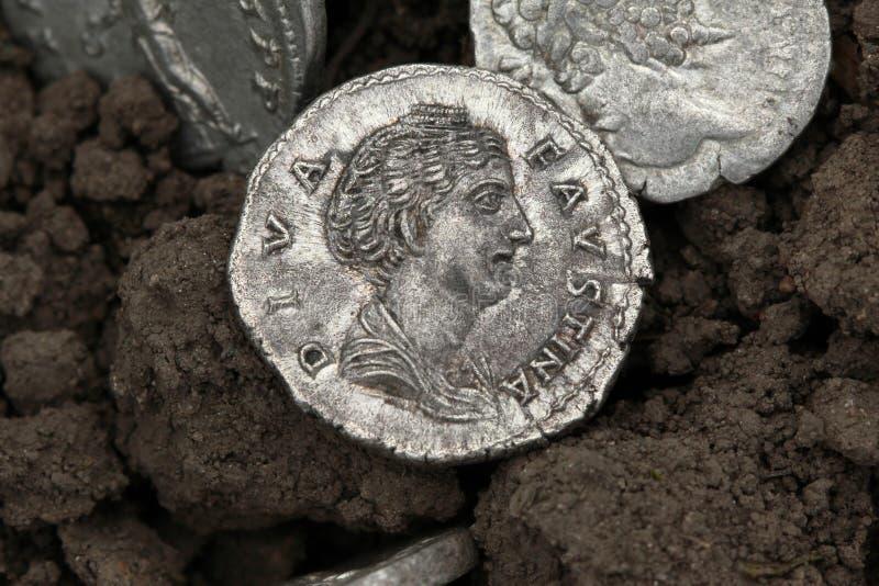Diva Faustina roman coin. Roman silver coin, denarius of Roman emperor stock photos