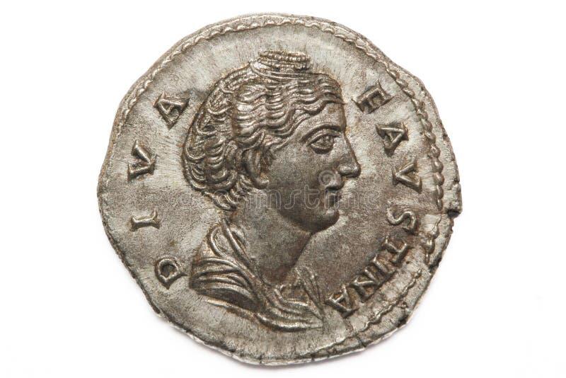 Diva Faustina roman coin. Roman silver coin, denarius of Roman emperor royalty free stock images