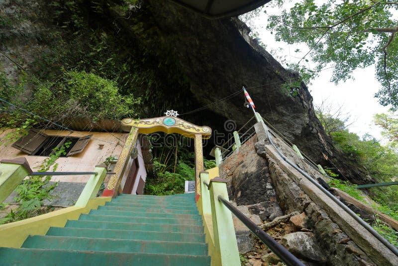 Diva Guhawa Caves-Tempel bei Ratnapura in Sri Lanka lizenzfreie stockfotografie