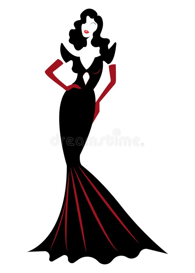 Diva Hollywood Silhouette Beautiful Retro Fashion Woman In Red Party Dress Luxury Pret A