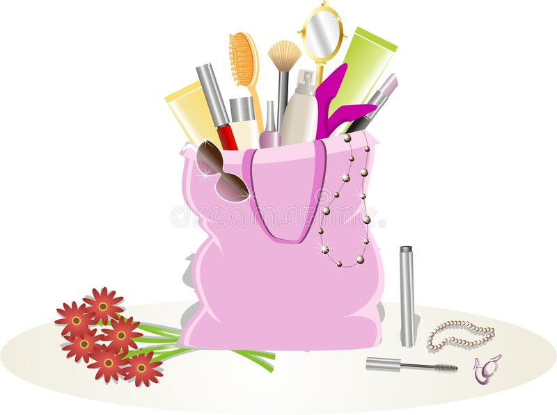 Diva kit. A bag containing stuff that you find in a girls bag royalty free illustration