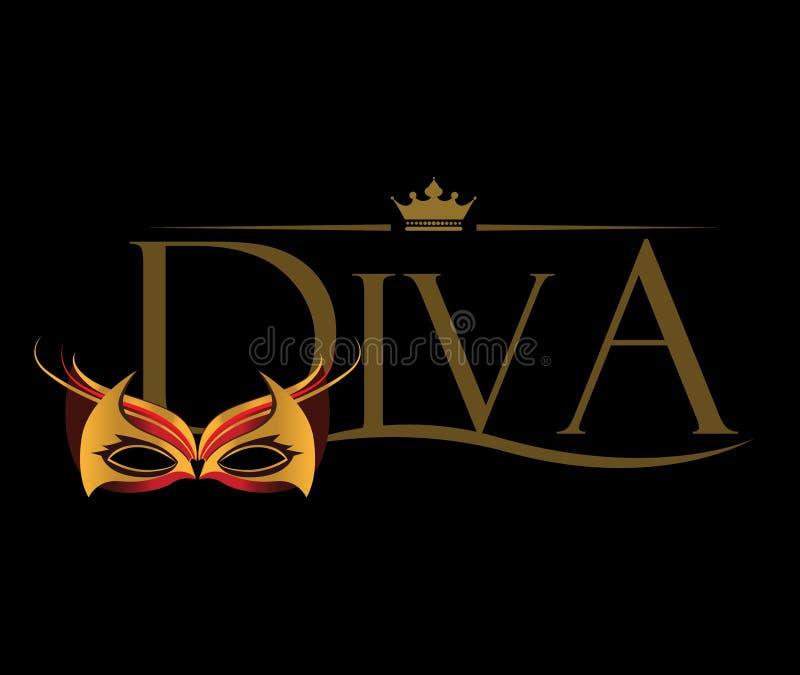 Diva Logo met Maskeradeglazen royalty-vrije illustratie