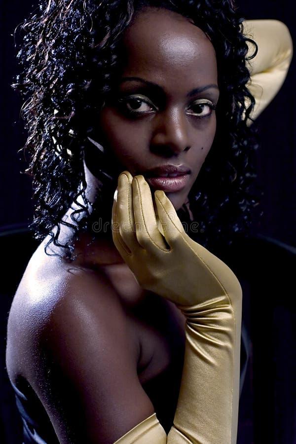 Diva, Mulher Com Luvas Douradas Fotos de Stock Royalty Free