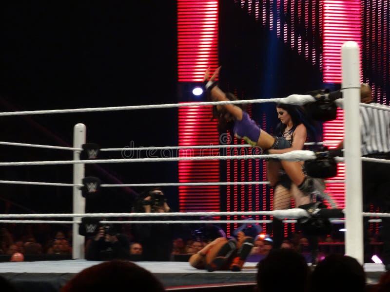Diva Paige laisse tomber la lie d'AJ sur Bella Sister en anneau photos libres de droits