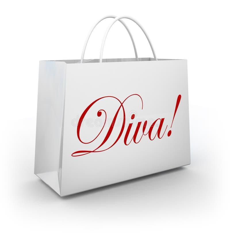 Diva Word Shopping Bag Spoiled modeprinsessa royaltyfri illustrationer