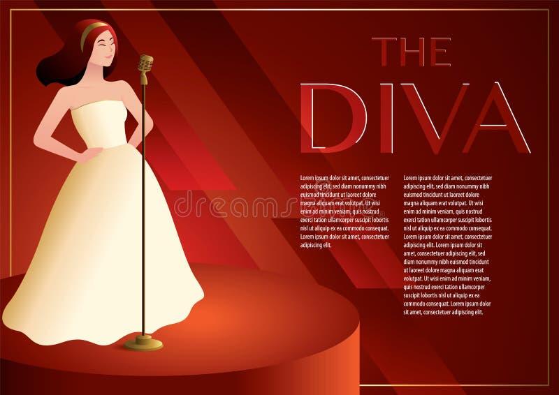 Diva zingt op het betoverende stadium met uitstekende microfoon stock illustratie
