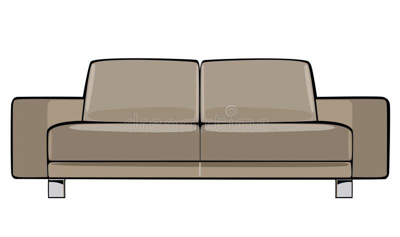 Divan beige de bande dessinée de vecteur d'isolement sur le blanc illustration de vecteur