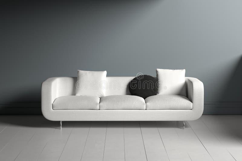 Divan blanc solitaire avec la place et les oreillers circulaires illustration stock