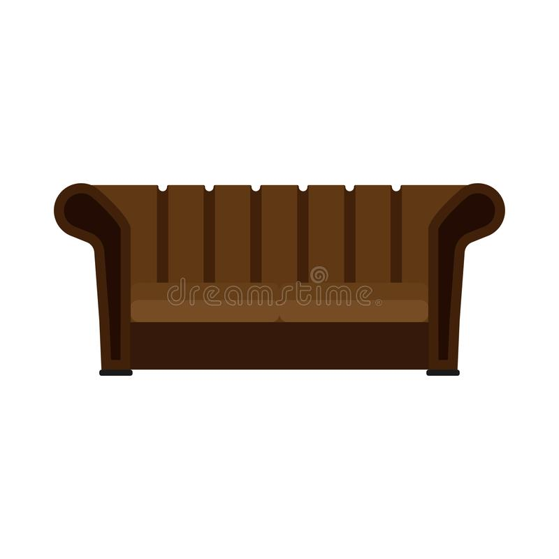 Divan brownlifestyle comfortable furniture flat vector icon. Bright TV sofa living room design interior house front view.  vector illustration