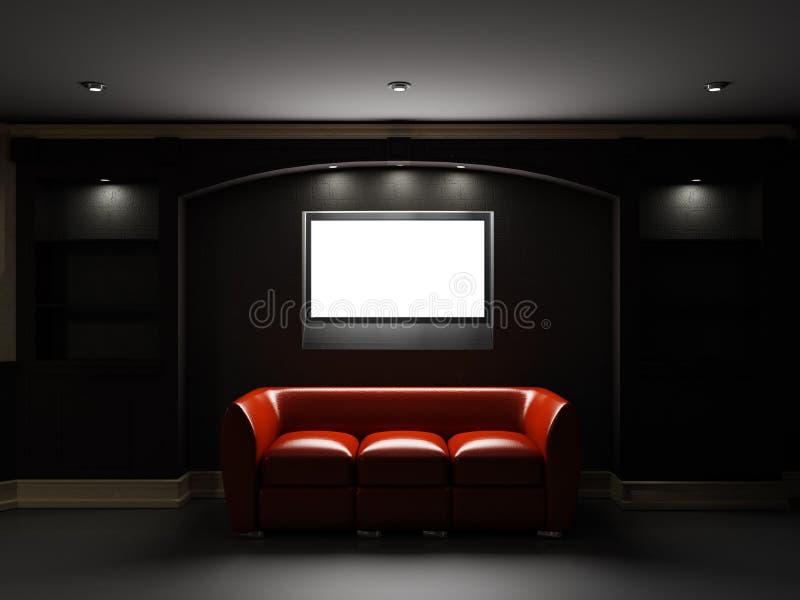 Divan et bibliothèque en cuir rouges avec l'affichage à cristaux liquides TV illustration libre de droits
