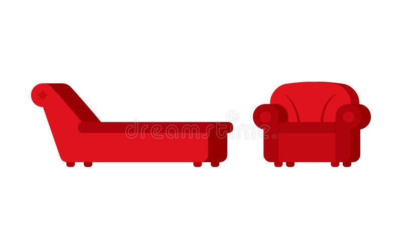 Divan et chaise des meubles de Psychotherapist de psychologue pour p illustration libre de droits
