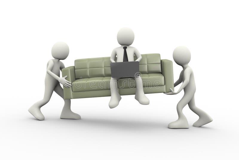 divan et homme de transport des personnes 3d avec l'ordinateur portable illustration libre de droits