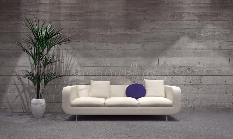 Divan et usine sur le vase au salon moderne illustration de vecteur