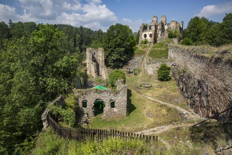 Divci kamen, Trisov, Czech republic, View of Girls rock ruin, ruin of castle in south bohemia. Near Cesky Krumlov city stock photography