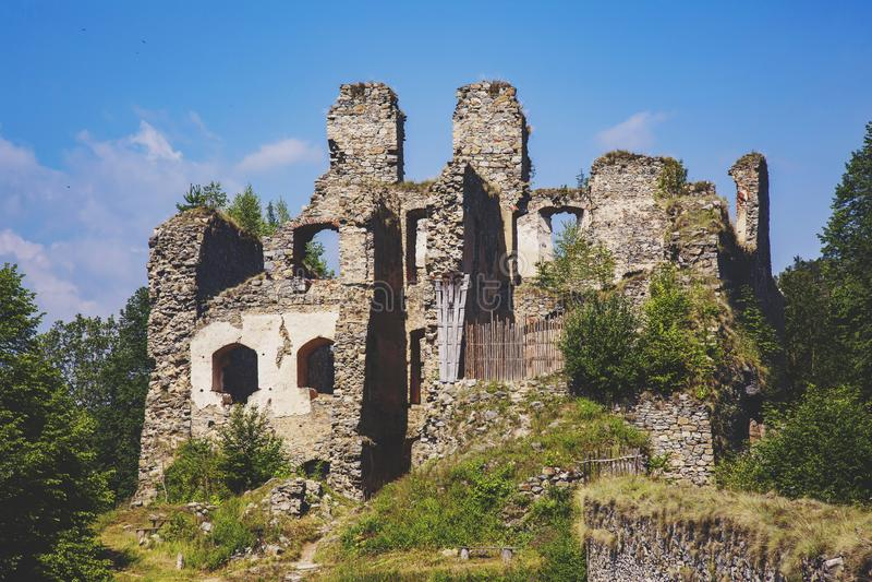 Divci kamen, Trisov, Czech republic, View of Girls rock ruin, ruin of castle in south bohemia. Near Cesky Krumlov city royalty free stock image