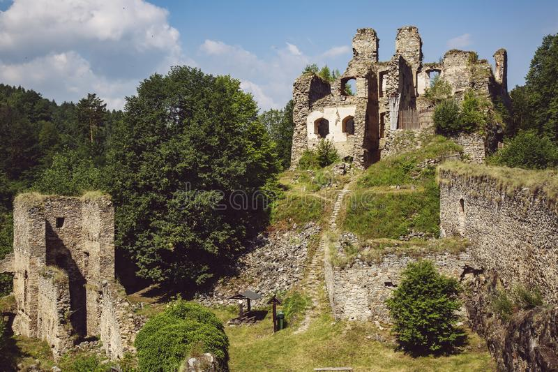 Divci kamen, Trisov, Czech republic, View of Girls rock ruin, ruin of castle in south bohemia. Near Cesky Krumlov city royalty free stock photo