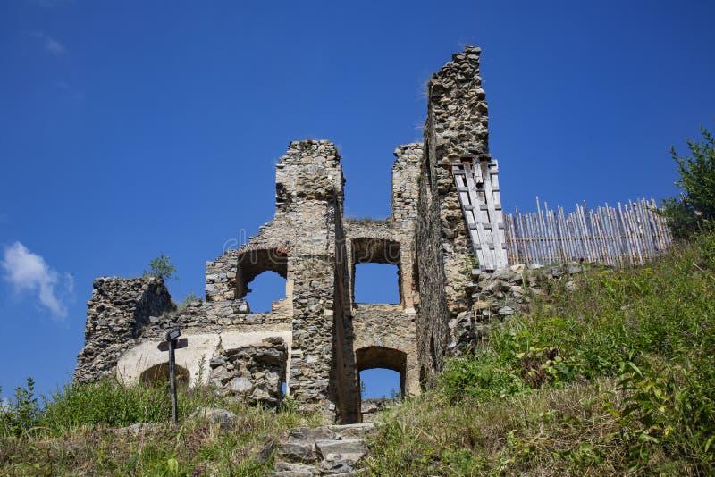 Divci kamen, Trisov, Czech republic, View of Girls rock ruin, ruin of castle in south bohemia. Near Cesky Krumlov city royalty free stock photos