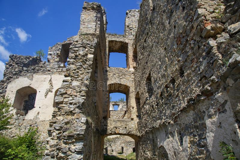 Divci kamen, Trisov, Czech republic, View of Girls rock ruin, ruin of castle in south bohemia. Near Cesky Krumlov city royalty free stock images