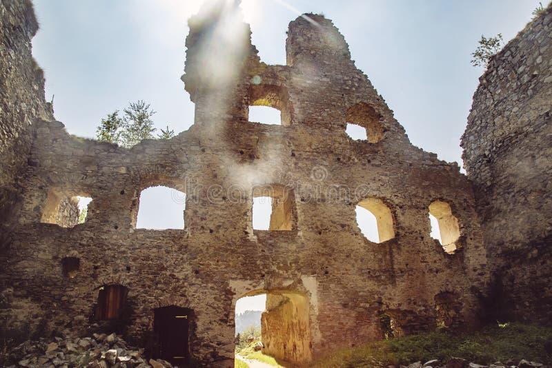 Divci kamen, Trisov, Czech republic, View of Girls rock ruin, ruin of castle in south bohemia. Near Cesky Krumlov city stock image