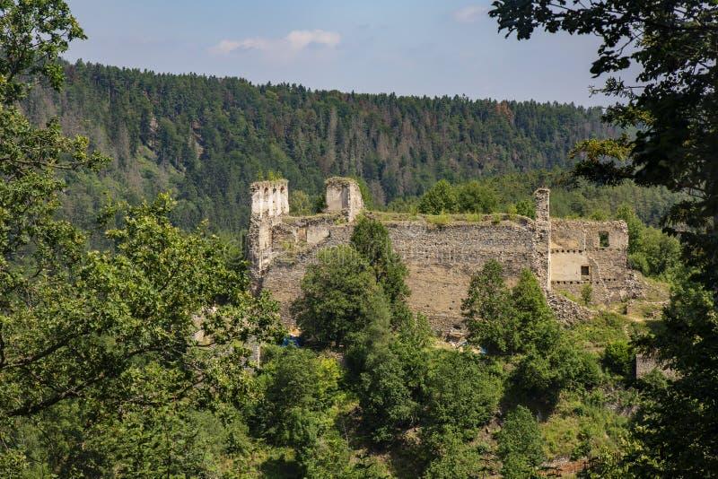 Divci kamen, Trisov, Czech republic, View of Girls rock ruin, ruin of castle in south bohemia. Near Cesky Krumlov city stock images