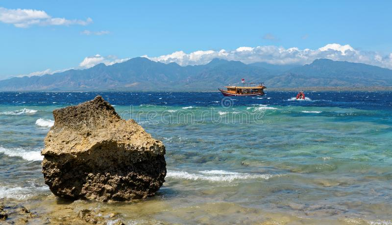 Dive Boat at Menjangan Island. Menjangan Island is a small island, located 5 miles to the north-west of Bali island, is known for it`s healthy colorful reef and royalty free stock images