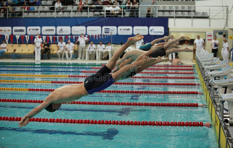 Dive into pool at the start of the swim. St. Petersburg, Russia, December 22-23, 2017 XI International swimming competition `Vladimir Salnikov Cup` swimmers at stock image