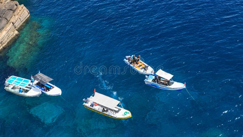 Diving boats off swami rock - Trincomalee - Sri lanka stock photo