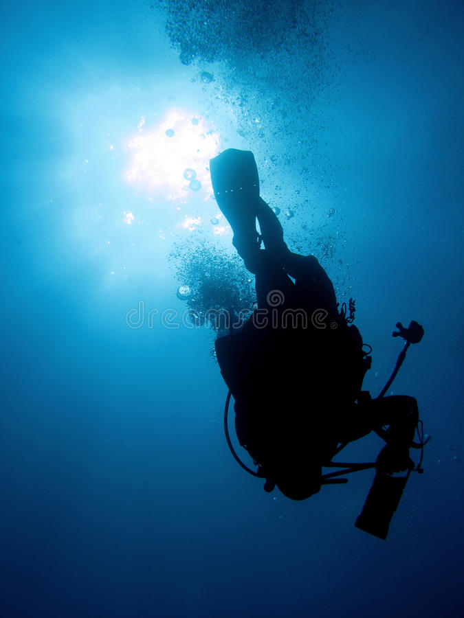 Diver. Underwater diver in back-light and bubbles