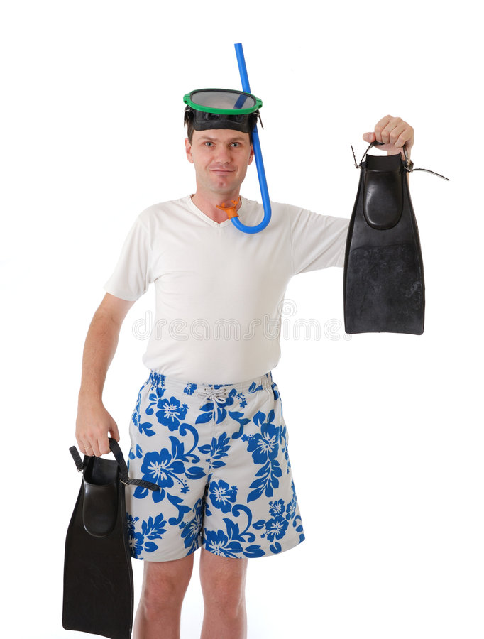Diver. Man with swimming mask, snorkel and fins stock photography