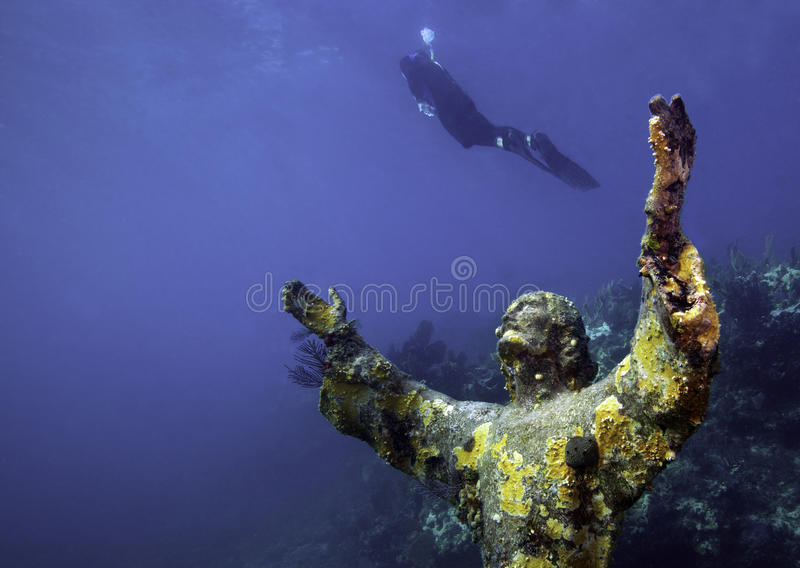 Diver Ascending - Christ Of The Deep Royalty Free Stock Image