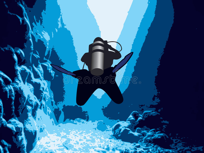 Download Diver in the cave. stock vector. Image of snorkel, deep - 4344714