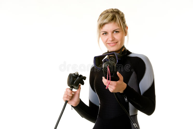 Download Diver checking pressure stock photo. Image of young, isolated - 22834936