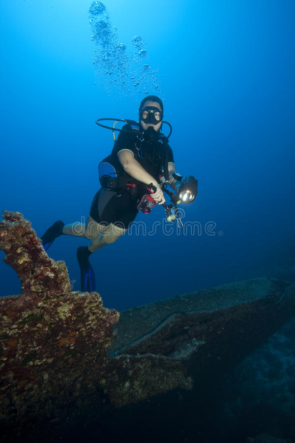 Download Diver in deep water stock photo. Image of diver, water - 12176832