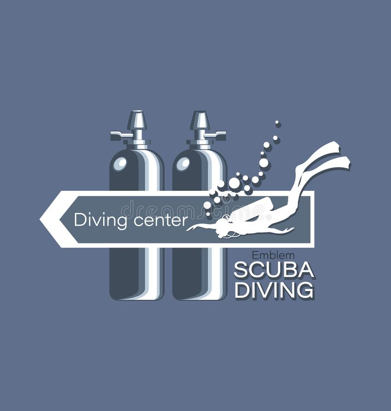 Diver and diving cylinders with an arrow and an inscription. Diving center. Scuba diving. Emblem, logo on a gray background. Concept of sports diving vector illustration