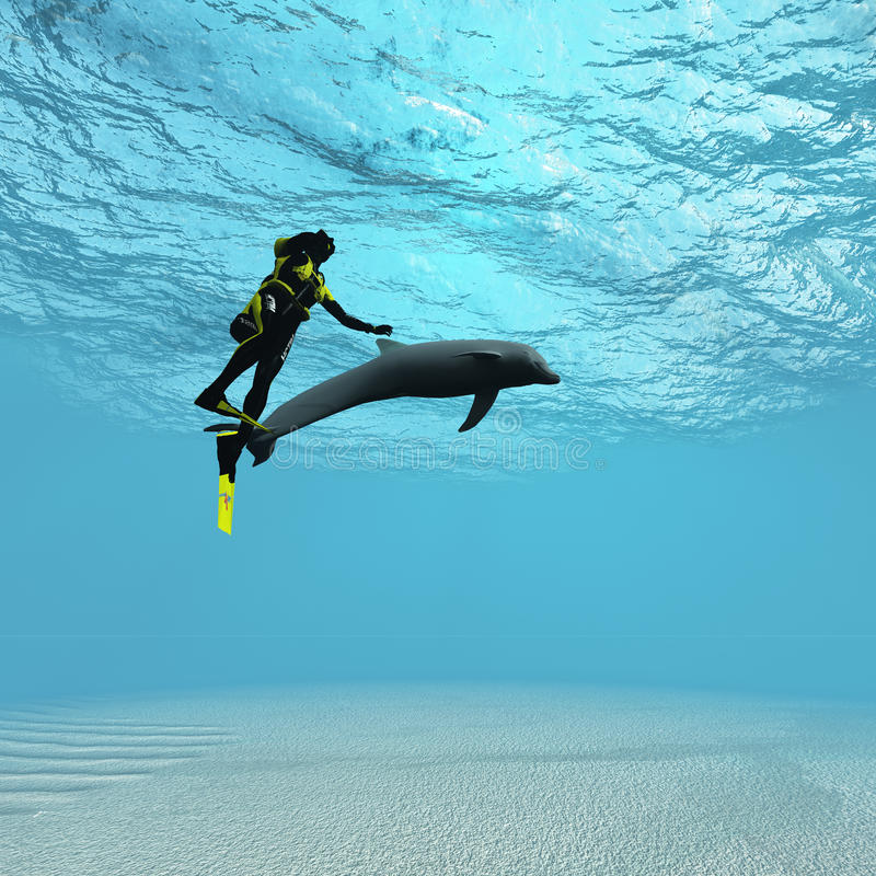 Diver With Dolphin Royalty Free Stock Photos