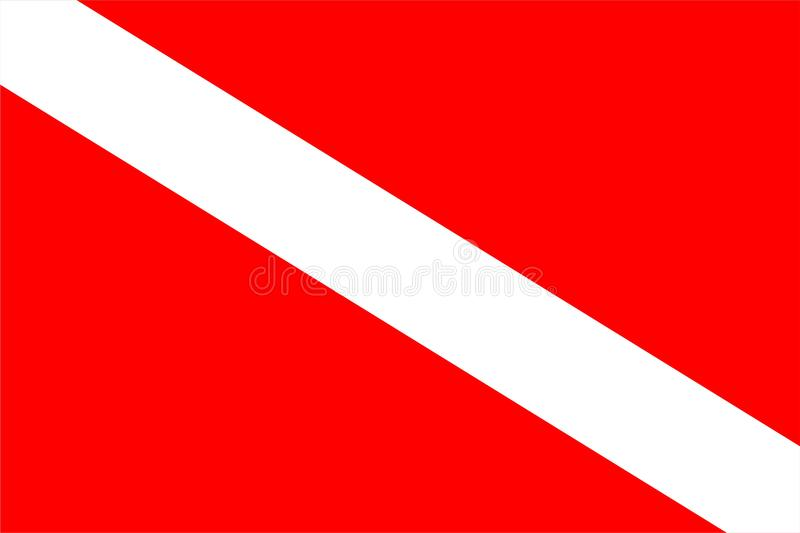 Diver Down International Scuba Sign - vector. Diver Down International Scuba Sign used when divers are underwater in open waters stock illustration