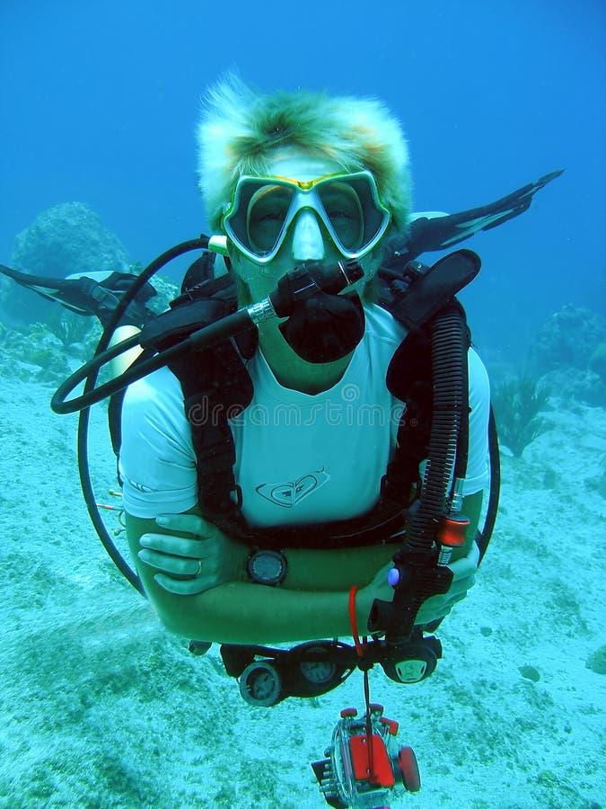 Diver enjoys a sunny dive royalty free stock photos