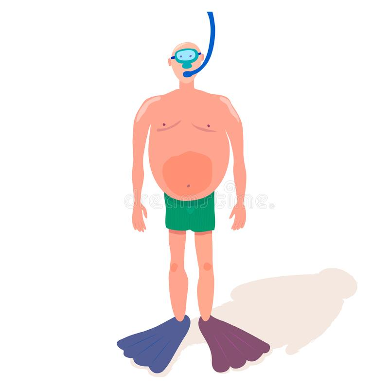 Diver with fat belly, snorkel and flippers. Nice vector illustration. Swimmer with flippers, snorkel and big belly. White Man in Swimsuit. Cool vector royalty free illustration