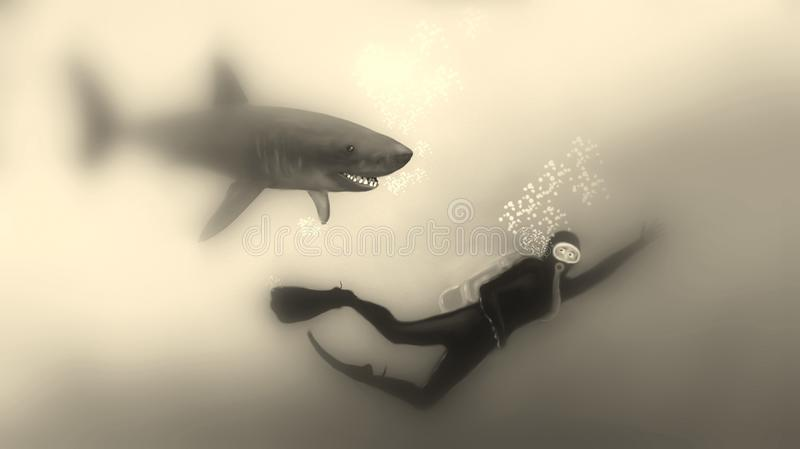 Diver fleeing from a shark Sepia royalty free illustration