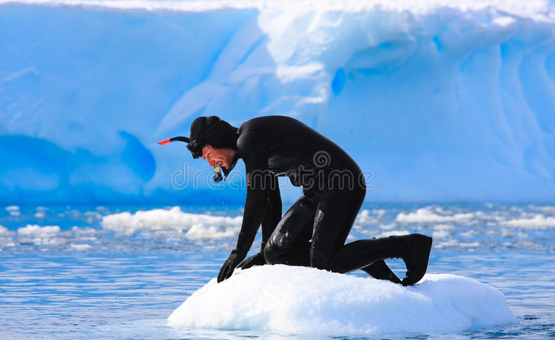 A diver on the ice royalty free stock photography