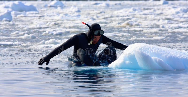 Diver on the ice royalty free stock photos