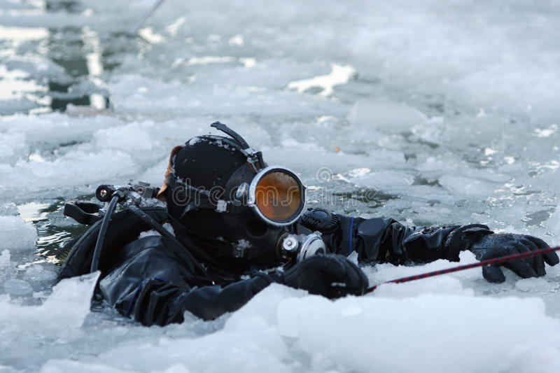 Download Diver among the ice stock image. Image of hand, dive - 16762869