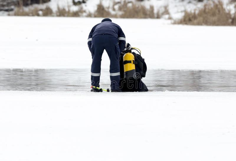 Diver ice cold water stock image
