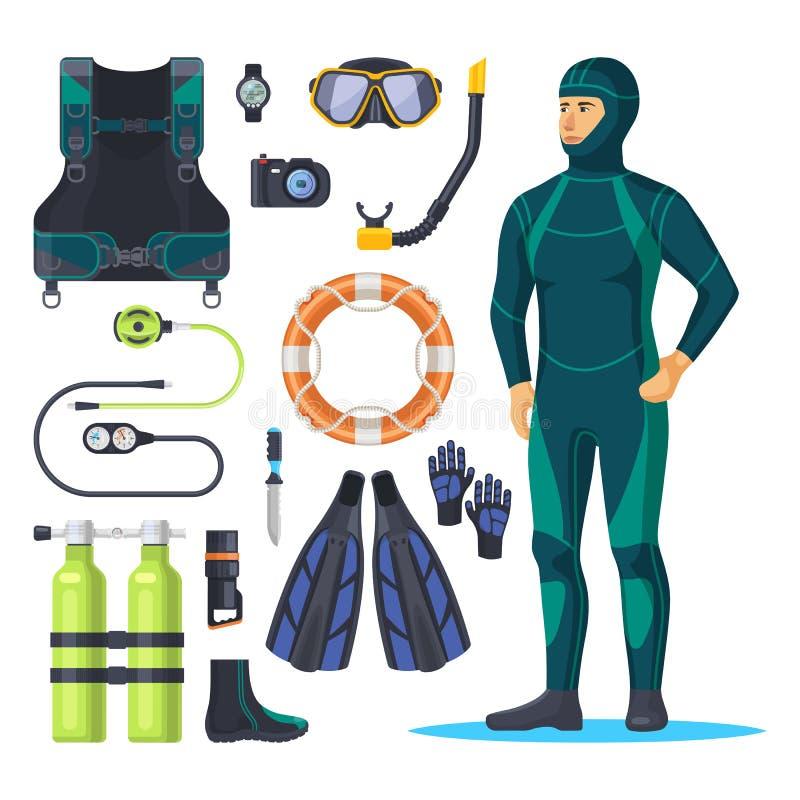 Free Diver In Scuba Diving Suit, Snorkeling Man. Stock Image - 159452461