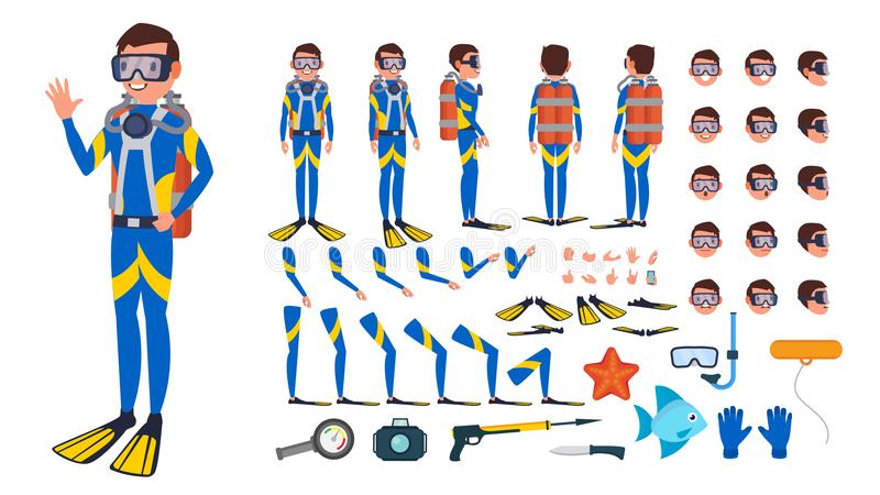 Diver Man Vector. Animated Character Creation Set. Under Water. Scuba Diver. Snorkeling Diving. Full Length, Front, Side. Back View, Poses Face Emotions royalty free illustration