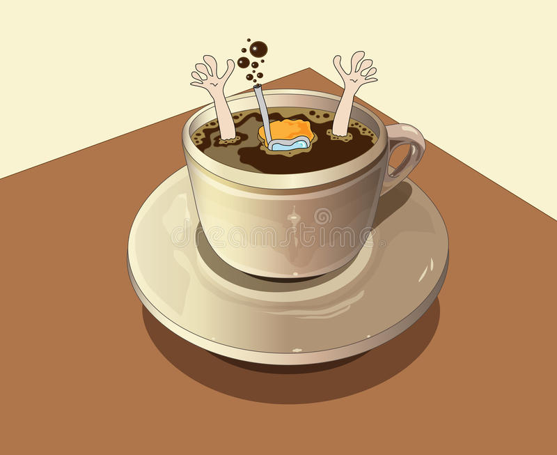 Download Diver Plunges Into The Coffee Stock Illustration - Image: 25173049