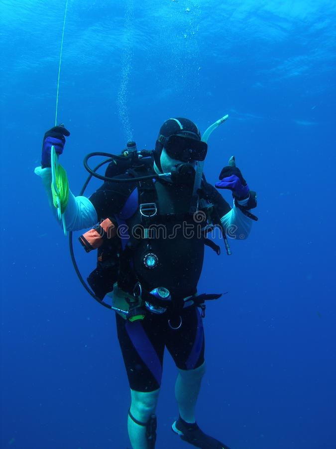 Diver at Safety Stop stock photography