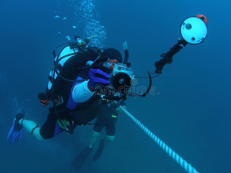 Diver at Saftey Stop royalty free stock image